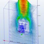 simulation CFD Dynamique des fluides, évacuation des calories dissipées par une carte électronique, vitesse des flux par CD Plast Engineering, bureau d'étude technique spécialiste de la conception de produit plastique.